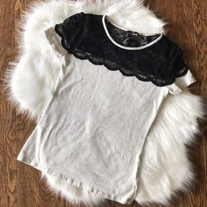 Women's H&M black lace detail tee
